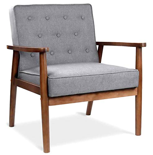 Accent Chair for Living Room, Mid-Century Retro Modern Accent Chair, Fabric Upholstered Wooden Lounge Chair