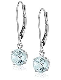 Sterling Silver Round Checkerboard Cut Leverback Dangle Earrings