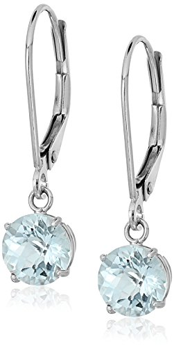 Sterling Silver Round Checkerboard Cut Aquamarine Leverback Earrings (6mm)