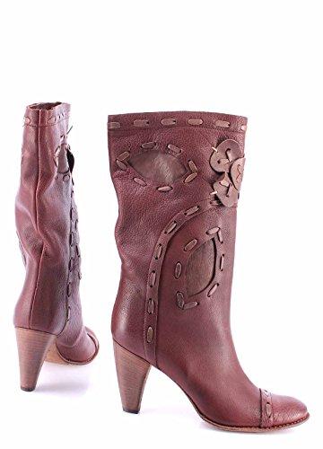 Zapatos Mujer Botas MOMA Cuero Decorado Marròn Vintage Made In Italy Exclusivo