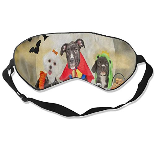 Sleep Mask Hipster Puppy Dog Dressed In Halloween Costumes Eye Mask Cover With Adjustable Strap Eyeshade For Travel, Nap, Meditation, -