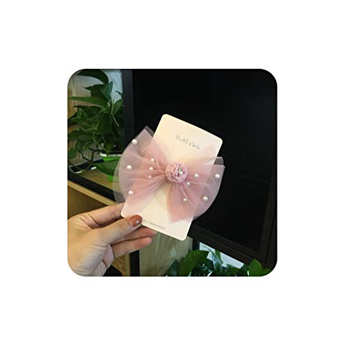 Lace Bowknot Princess Hairpins Baby Girls Pearl Headwear Child Kid Glitter Beauty Hair Clip,6889 pink ()