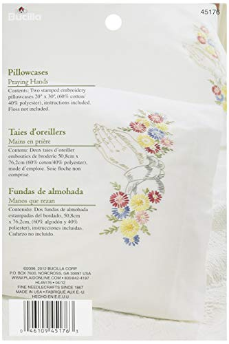 Bucilla Stamped Embroidery Pillow Case Pair Kit, 20 by 30-Inch, 45176 Praying Hands