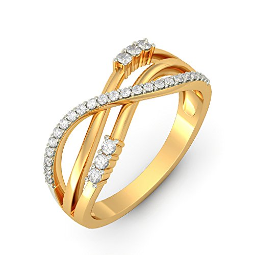 14K Yellow Gold (HallMarked), 0.2 cttw White Diamond (IJ | SI ) Diamond Engagement Wedding Ring Size - 10.5 by PEACOCK JEWELS
