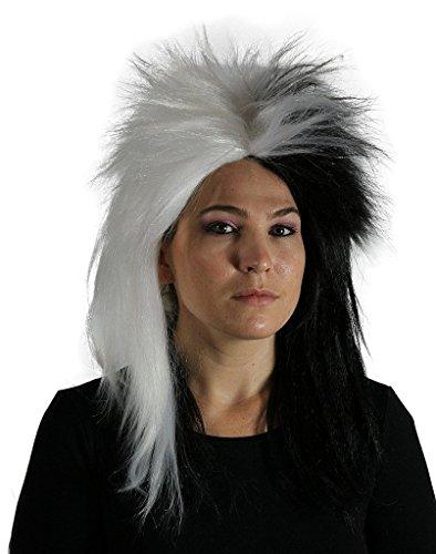 Costumes Cruella Halloween Deville Wig (My Costume Wigs Women's Cruella Deville Wig (Black/White) One Size fits)