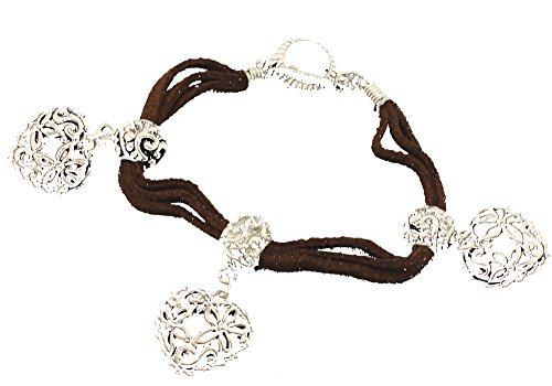 (Boutique Collection Triple Strand Suede Heart Pendant Bracelet)