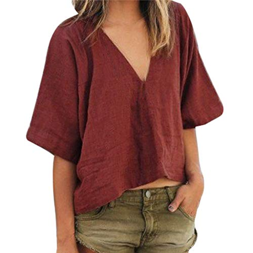 2019 Women's Summer Solid Fashion New Lady Short Sleeve V-Neck Casual T-Shirts Linen Crop Tops by QIQIU Wine