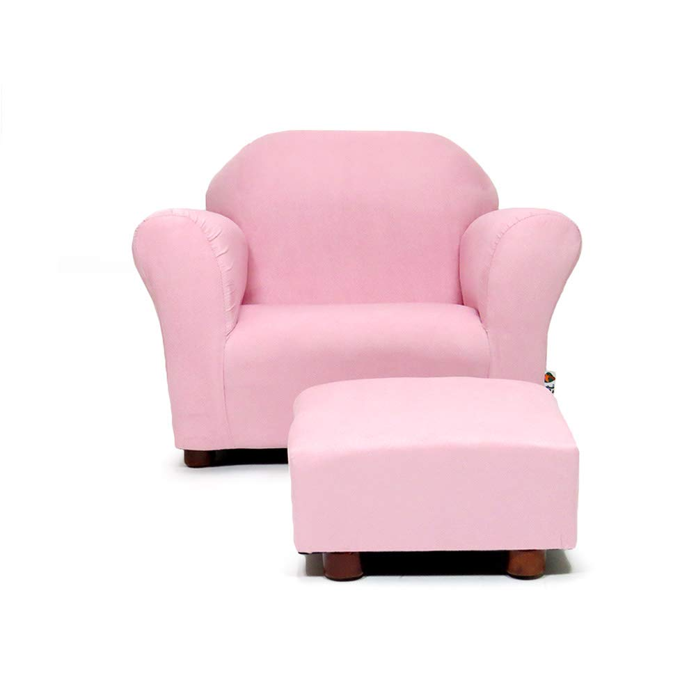 KEET Roundy Child Size Chair with Microsuede Ottoman, Pink, Ages 2-5 years