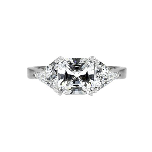 - Engagement Ring - 3 Stone Princess & Trillion Cut CZ