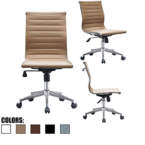 2xhome Tan Mid Century Modern Contemporary Managerial Executive Office Chair Mid Back PU Leather Arm Rest Tilt Adjustable Height with Wheels Arms Back Support Task Work Chrome Manager Armless Begie ()