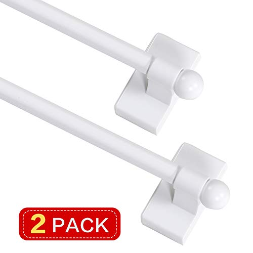 Turquoize Magnetic Curtain Rod Adjustable Lenght from 9-16 Inch with Petite Ball for Small Window/Door,White,2 Pack