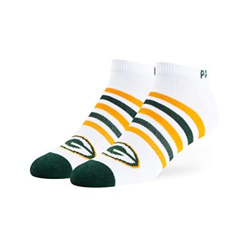 OTS NFL Green Bay Packers Venom Low Cut Ankle Socks, White, Large