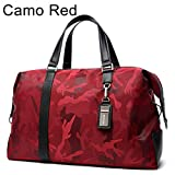 Men Travel Bag Large Capacity Shoulder Travel Bags Luggage Female Waterproof Handbag Camo Red