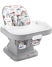 Fisher-Price SpaceSaver Simple Clean High Chair - Rainbow Showers, Portable Infant-To-Toddler Dining Chair and Booster Seat with Easy Clean Up Features