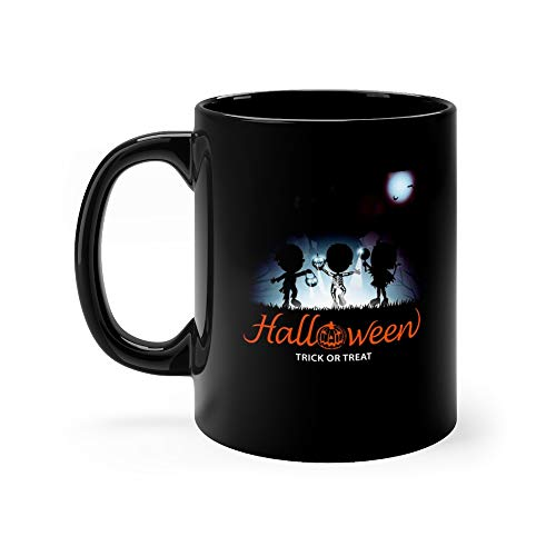 Halloween Trick Or Treat Kids Silhouette Skeleton Costume Funny Cute Mug Cup Ceramic 11 Oz]()