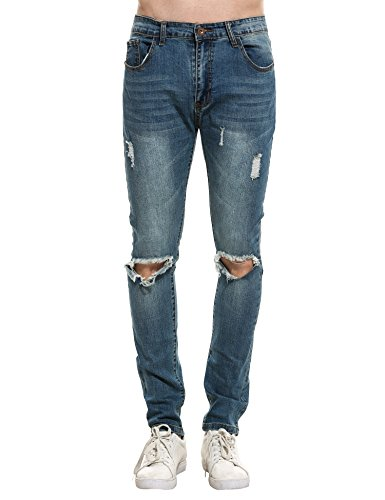 COOFANDY Men's Ripped Destroyed Holes Jeans Skinny Distressed Slim Fit Demin Pants,Type 1-blue,38 by COOFANDY