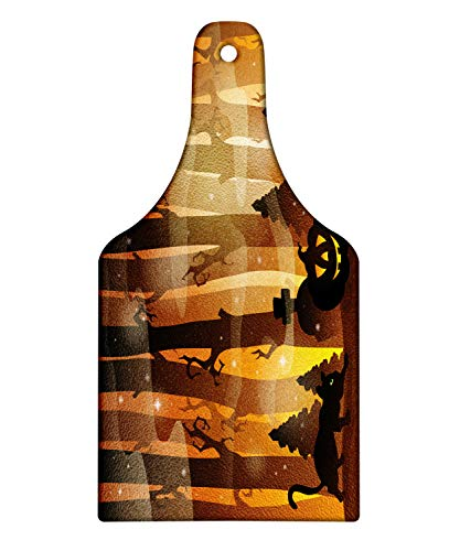 Lunarable Halloween Cat Cutting Board, Mysterious Forest Tombstones and Pumpkins, Decorative Tempered Glass Cutting and Serving Board, Wine Bottle Shape, Chocolate Pale Cinnamon Charcoal Grey Mustard -