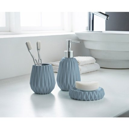3 Piece Ceramic Bathroom Accessory Set Ripple Effect - Soap Dish, Soap Dispenser, Tumbler/Toothbrush Holder (Blue) Generic