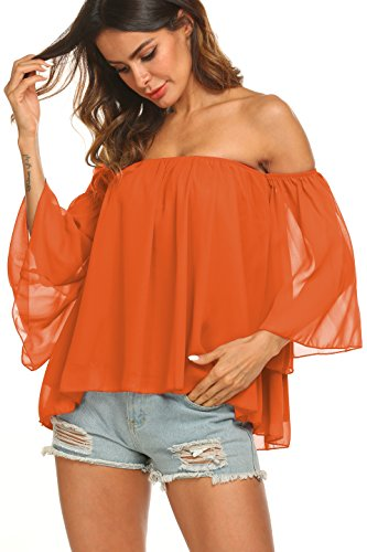 edc2749c00c5ce Uvog Women Sexy Off The Shoulder Tops Summer Chiffon Blouses Crop Tops for  Ladies Teens Juniors