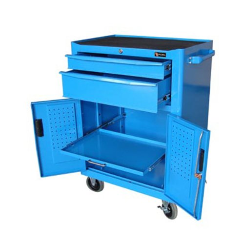 Excel 2-drawer Blue Metal Tool Chest Roller Cabinet with Pedboard (Tool Metal Chest Roller)