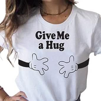 تي شيرت للسيدات، مطبوع عليه Give me a hug