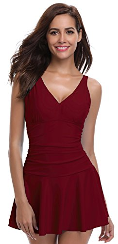 SHEKINI Women's One Piece Skirt Swimsuit Ruched Retro Swimdress Bathing Suit (X-Large, Wine Red)