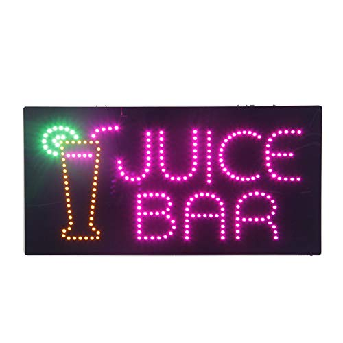 Smoothies Sign Led - LED Juice Bar Open Light Sign Super Bright Electric Advertising Display Board for Bubble Boba Tea Smoothie Coffee Cafe Business Shop Store Window Bedroom Decor 24 x 12 inches