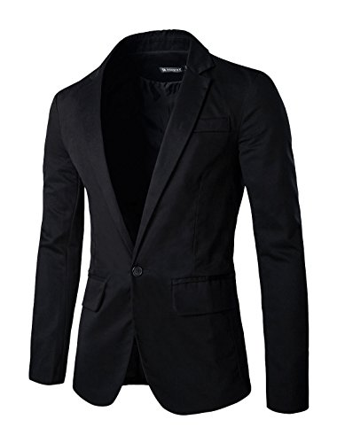 uxcell Men Long Sleeves Padded Shoulders Notched Lapel Cotton Blazer Black S (US 34)