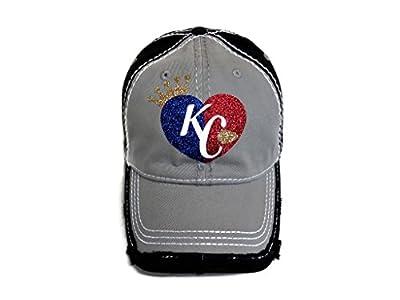 Spirit Caps Royal Blue/White/Red/Gold Glitter KC Kansas City Grey/Black Baseball Cap