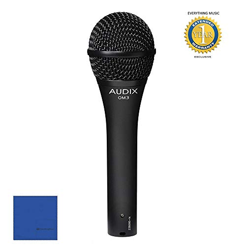 Audix OM3 Handheld Dynamic Hypercardioid Vocal/Instrument Microphone with 1 Year Free Extended Warranty