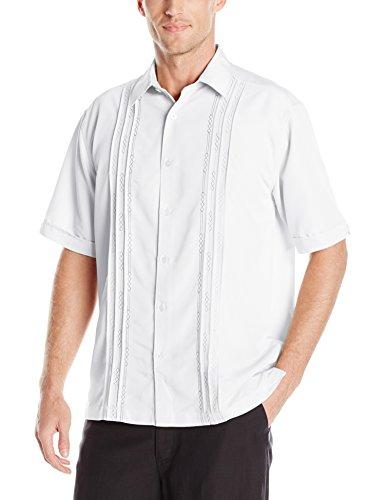 (Cubavera Men's Tuck with Geometric Detail Short Sleeve Woven Shirt, Bright White, Large)