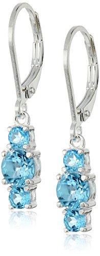 Sterling Silver Round Genuine Swiss Blue Topaz 3mm Three-Stone Dangle Lever Back Hoop Earrings