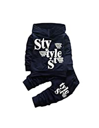 ASTV Boys Cute Toddler Baby Clothing 2pcs Outfits, Long Sleeve T-Shirt +Pants Outfit