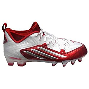 adidas Men's Crazyquick 2.0 Football Cleats (9.5, White/Platinum/Power Red)