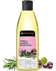Castor Rosemary Hair Oil by Soulflower for Hair Growth, Hair Nourishment, Control Hair Loss - Organic, 100% Pure, Natural Cold Pressed Hair Oil - 6.77 Fl Oz, Bonus Nozzle