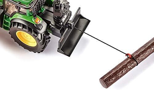 SIKU 4063, John Deere Forsttraktor, 1:32, Metall/Kunststoff, Grün, Bewegliche Greifer, Winde mit Rückzugmotor