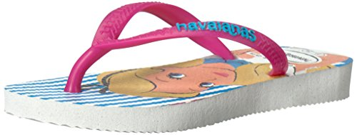 Havaianas Girls' Slim Alice Sandal Flip Flop, White/Rose, 29/30 BR/13/1 M US Little - Havaianas White Kids