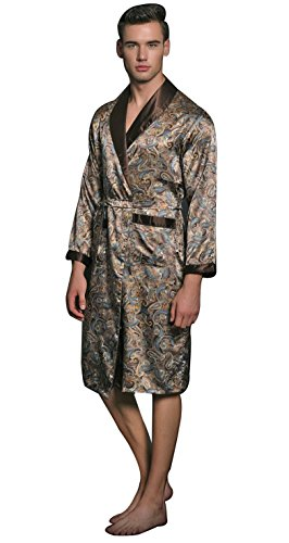 Charmeuse Silk Belt - SexyTown Long Satin Lounge Print Bathrobe Men's Charmeuse Sleepwear with Pockets Small Coffee