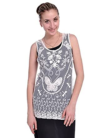 Anna-Kaci S/M Fit Beige Sheer Scallop Hem Butterfly Inspired Pattern Blouse