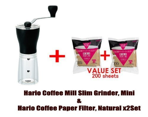 Hario Coffee Mill Slim Grinder, Mini & Hario 02 100 Count Coffee Paper Filter, Natural X2 Set(total 200 Sheets)- Starter Value Set (With Our Shop Original Description of Goods)