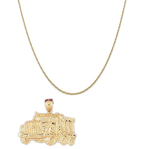 Gold Dump Truck - 14k Yellow Gold Dump Truck Pendant on a 14K Yellow Gold Rope Chain Necklace, 18