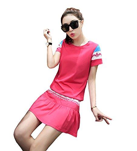 「ReiRei」レディース可愛い スポーツウェア上下 スーツ 運動着 Tシャツ 半袖 ミニスカート テニスウェア レディース 上下