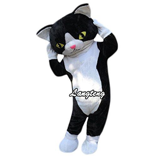Black and White Cat Mascot Cartoon Costume Langteng ()