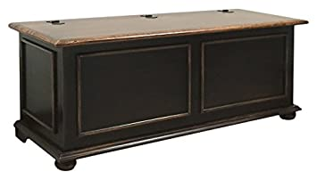 Pieffe Mobili - Coffre en bois de cerisier - noir usé - 120 x 42 x 50 cm