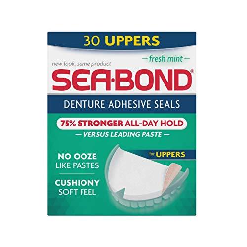 SEA-BOND Denture Adhesive Seals Uppers Fresh Mint, 30 Each (Pack of 8)