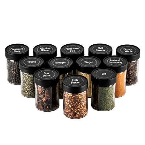 AllSpice 3 Ounce Glass Spice Jars with Black Plastic Lids and 3 Styles of Shaker Tops- 12 Pack