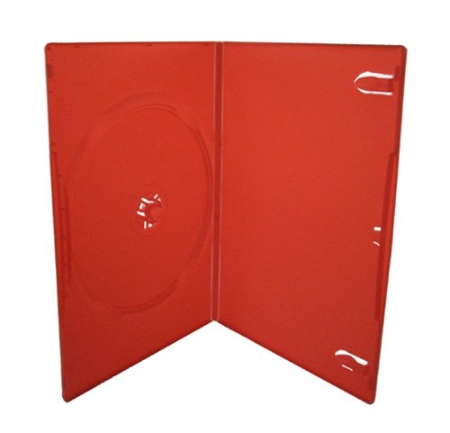 Slim Single Dvd Color Red (Mediaxpo Brand 100 SLIM Solid Red Color Single DVD Cases 7MM)