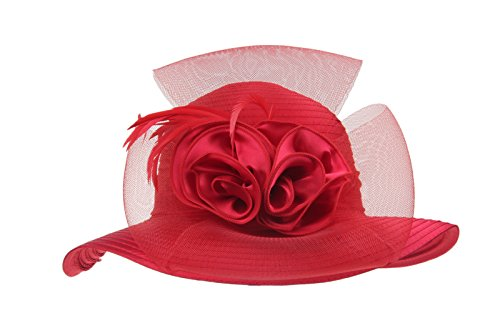 Prefe Lady's Kentucky Derby Dress Church Cloche Hat Bow Bucket Wedding Bowler Hats (Red, One Size)
