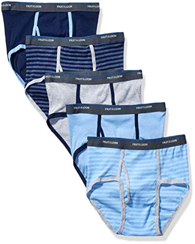 Fruit of the Loom Boys' Fashion Brief (Pack of 5) (Stripes and Solids, Large / 14-16)