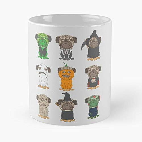 Chinese Pug Dutch Bulldog Mini Mops Morning Coffee Mug Ceramic Novelty Holiday]()